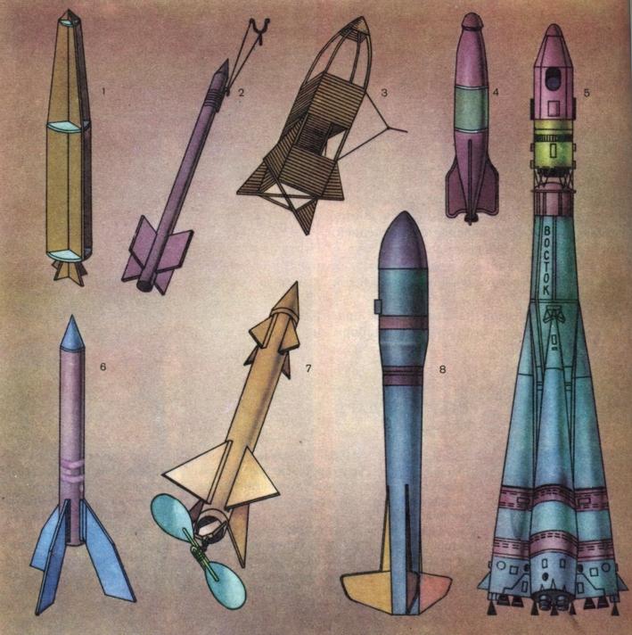Модели ракет: 1 - силуэтная;