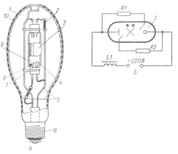 Лампа ДРЛ: а - общее устройство; б - электрическая схема включения четырехэлектродной лампы ДРЛ (I) с дросселем (L1)...